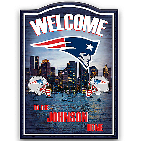 Photo of New England Patriots Personalized Welcome Sign Wall Decor by The Bradford Exchange Online
