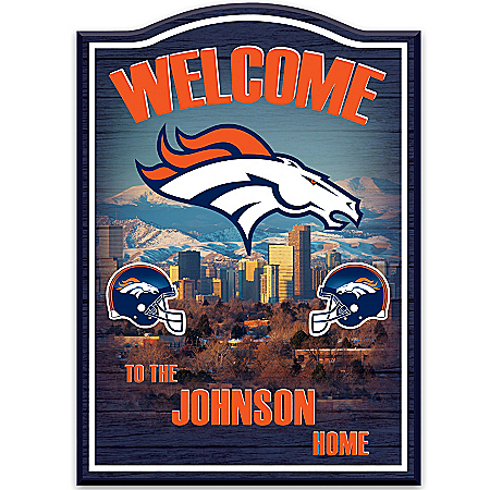 Photo of Denver Broncos Personalized Welcome Sign Wall Decor by The Bradford Exchange Online