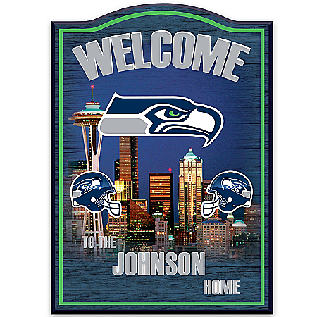 Photo of Wall Decor: Seattle Seahawks Personalized Welcome Sign Wall Decor by The Bradford Exchange Online