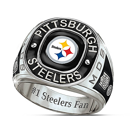 Photo of Pittsburgh Steelers Personalized Stainless Steel Men's Ring by The Bradford Exchange Online