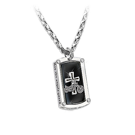Photo of Dog Tag Pendant Necklace: Biker's Blessing by The Bradford Exchange Online