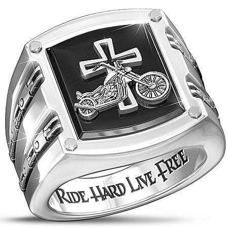 Photo of Ring: Biker's Blessing Stainless Steel Black Onyx Men's Ring by The Bradford Exchange Online
