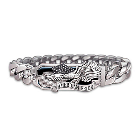 Photo of American Pride God Bless America Stainless Steel Men's Bracelet by The Bradford Exchange Online
