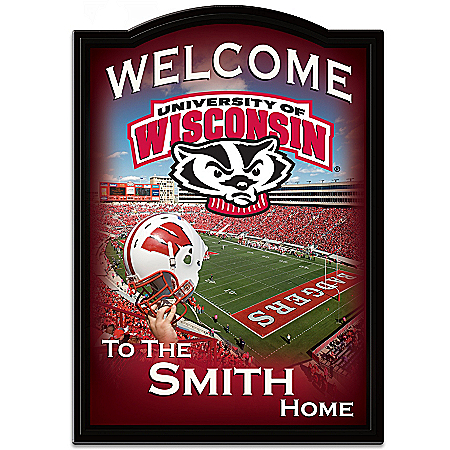 Photo of Wisconsin Badgers Personalized Welcome Sign by The Bradford Exchange Online