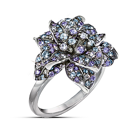 Photo of Ring: Midnight Rose Diamonesk Cocktail Ring by The Bradford Exchange Online