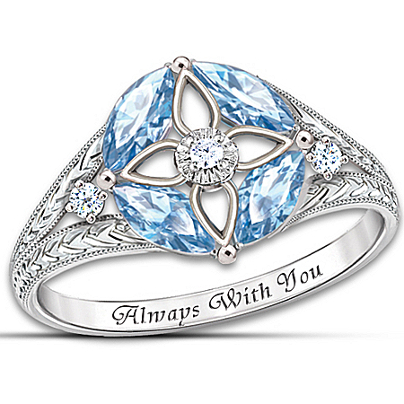 Photo of Women's Ring: Light Of Faith Blue Topaz And Diamond Ring by The Bradford Exchange Online
