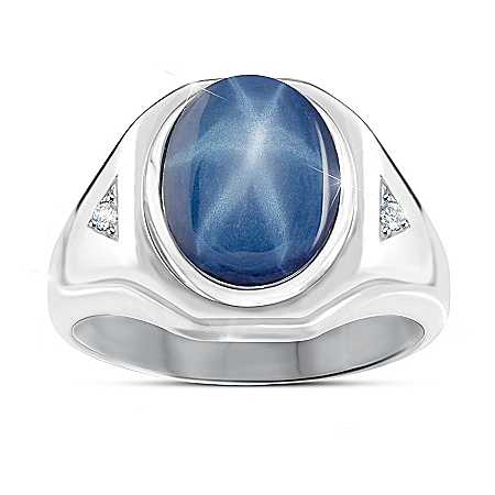 Photo of Interstellar Men's Created Star Sapphire Ring by The Bradford Exchange Online