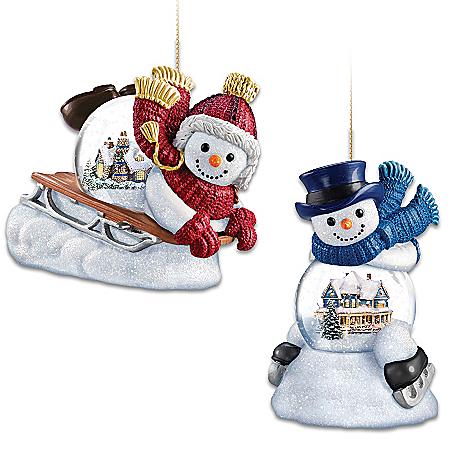 Image of Charming Thomas Kinkade Snowman Christmas Ornaments with mini snowglobe