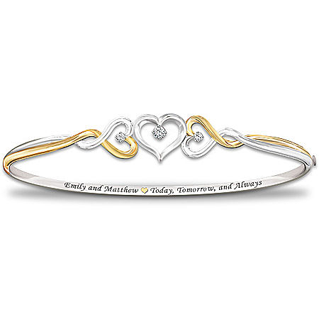 Photo of Personalized Diamond Bracelet: Two Hearts Become One by The Bradford Exchange Online