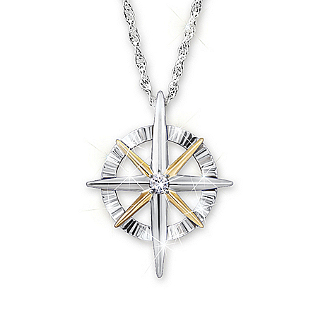 Photo of Diamond Pendant Necklace: Light Of Faith Daughter Necklace by The Bradford Exchange Online