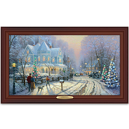 Photo of Thomas Kinkade Authentic Canvas Print: A Holiday Gathering by The Bradford Exchange Online