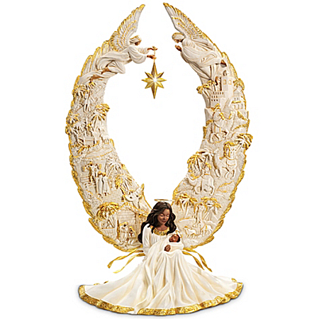 Photo of Thomas Kinkade Illuminated African American Nativity Angel Sculpture: Away In A Manger by The Bradford Exchange Online