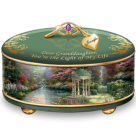 Photo of Thomas Kinkade Granddaughter, You're The Light Of My Life Personalized Music Box by The Bradford Exchange Online