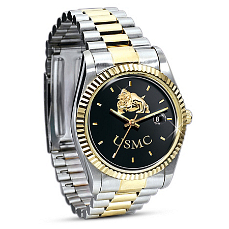 Photo of Stainless Steel USMC Semper Fi Watch Gift For Marines by The Bradford Exchange Online