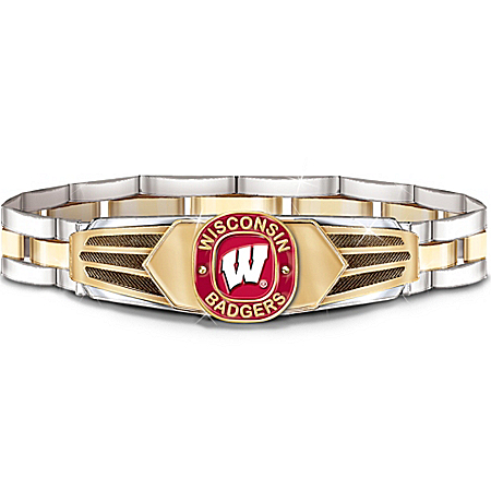 Photo of Wisconsin Badgers Stainless Steel Men's Bracelet by The Bradford Exchange Online