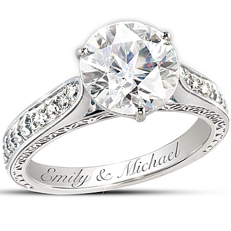Photo of Engagement Ring: Love's Perfection Personalized Diamonesk Engagement Ring by The Bradford Exchange Online