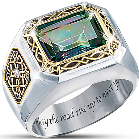 Photo of Mystic Topaz Men's Ring: The Legend Of Ireland by The Bradford Exchange Online