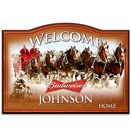 Photo of Welcome Sign: Budweiser Personalized Welcome Sign by The Bradford Exchange Online