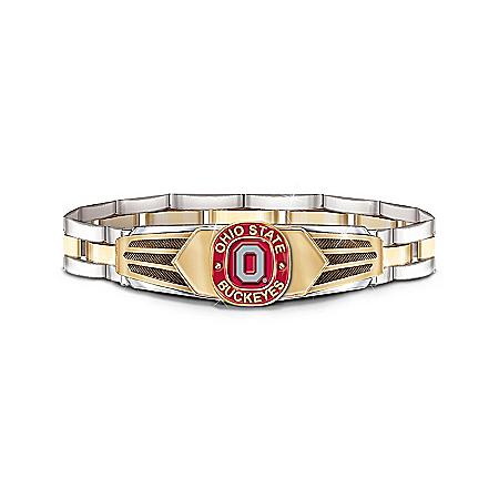 Photo of Ohio State Buckeyes Stainless Steel Men's Bracelet by The Bradford Exchange Online