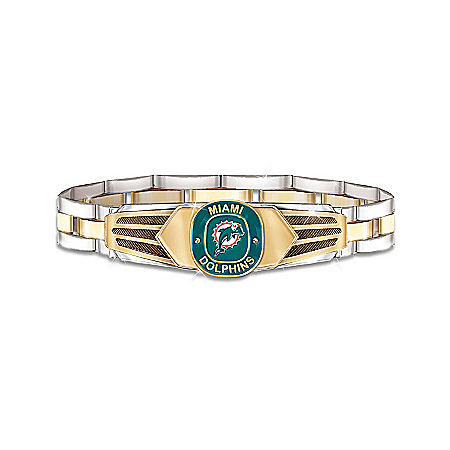 Photo of NFL Miami Dolphins Stainless Steel Men's Bracelet by The Bradford Exchange Online
