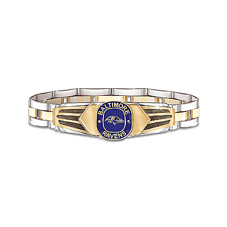 Photo of NFL Baltimore Ravens Stainless Steel Men's Bracelet by The Bradford Exchange Online