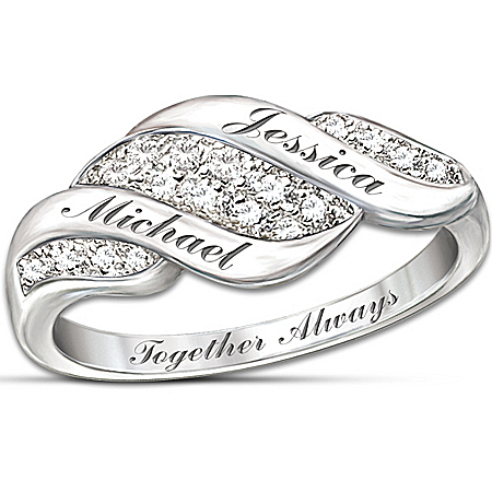 Photo of Women's Ring: Cascade Of Love Personalized Diamond Ring by The Bradford Exchange Online