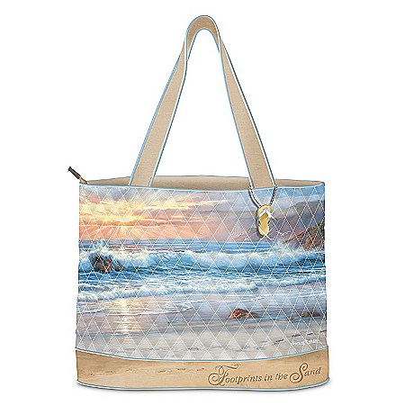 Photo of Tote Bag: Footprints In The Sand Tote Bag by The Bradford Exchange Online