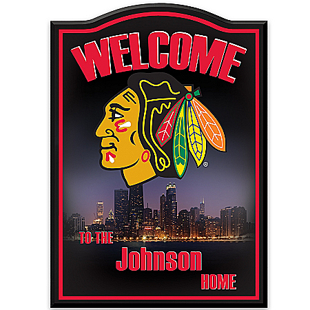 Photo of NHL® Chicago Blackhawks® Personalized Welcome Sign Wall Decor by The Bradford Exchange Online