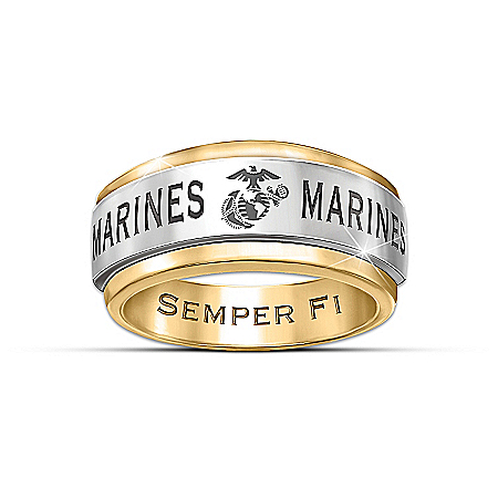 Photo of Ring: USMC Semper Fi Men's Spinning Ring by The Bradford Exchange Online