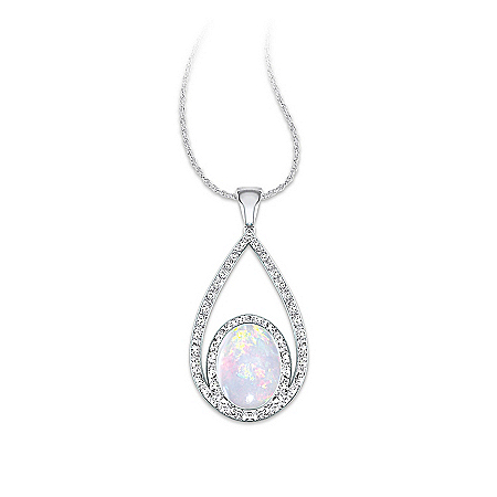 Photo of Opulence Australian Opal And Diamond Pendant Necklace by The Bradford Exchange Online