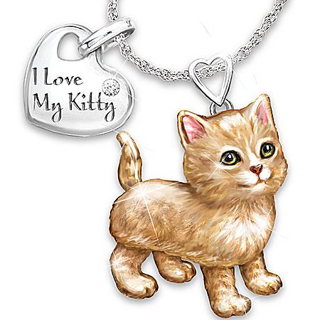 Photo of Women's Necklace: Frisky Kitty Diamond Pendant Necklace by The Bradford Exchange Online
