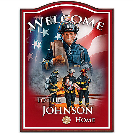 Photo of Firefighter Personalized Welcome Sign Wall Decor: A Hero's Welcome by The Bradford Exchange Online