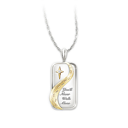 Photo of Pendant Necklace: You'll Never Walk Alone Diamond Pendant Necklace by The Bradford Exchange Online