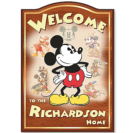 Photo of Personalized Disney Mickey Mouse Welcome Sign by The Bradford Exchange Online