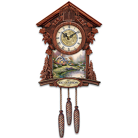 Image of Charming Personalized Thomas Kinkade Cuckoo Clock with 4 Seasonal Art Plaques