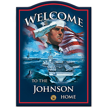 Photo of Personalized Welcome Sign: U.S. Navy Pride by The Bradford Exchange Online