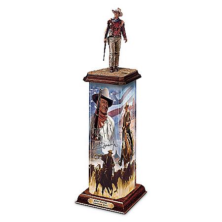 Photo of Sculpture: John Wayne: An American Hero Illuminated Statement Edition Sculpture by The Bradford Exchange Online