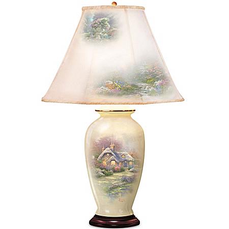 Photo of Thomas Kinkade Everett's Cottage Charm Porcelain Ginger Jar Table Lamp by The Bradford Exchange Online