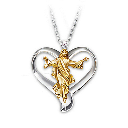 Photo of Necklace: Our Father Diamond Heart Pendant Necklace by The Bradford Exchange Online