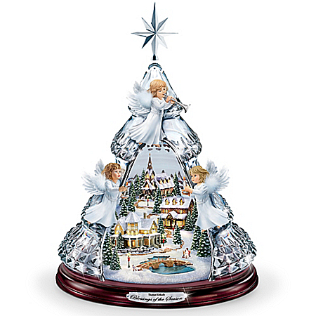 Photo of Thomas Kinkade Blessings Of The Season Crystal Angel Tabletop Tree Plays Silent Night by The Bradford Exchange Online