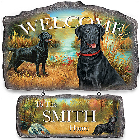 Photo of Wall Decor: Lovable Labradors Personalized Welcome Sign Wall Decor by The Bradford Exchange Online