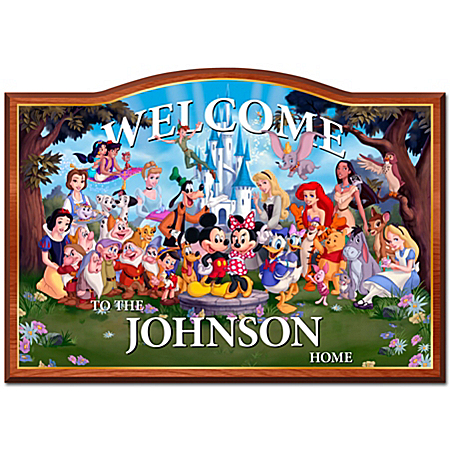 Photo of Welcome Sign: Magic Of Disney Personalized Welcome Sign by The Bradford Exchange Online