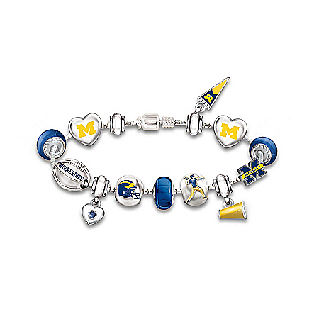 Photo of Michigan Charm Bracelet: Go Wolverines! #1 Fan by The Bradford Exchange Online