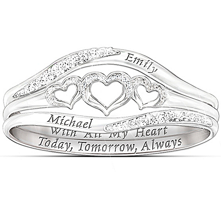 Photo of Women's Ring: With All My Heart Personalized Diamond Ring by The Bradford Exchange Online