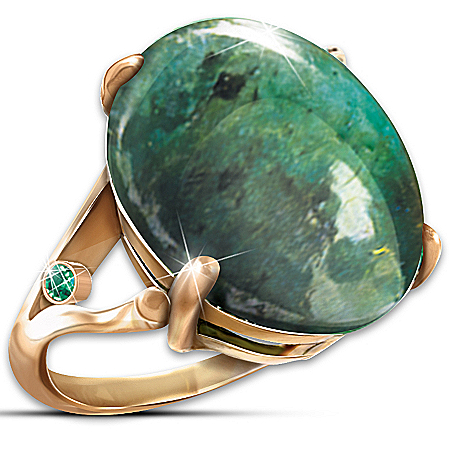 Photo of Emerald Legend Glittering In Green Women's Ring by The Bradford Exchange Online