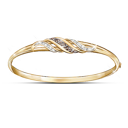 Photo of Sweet Decadence Mocha And White Diamond 18K Gold-Plated Bracelet by The Bradford Exchange Online