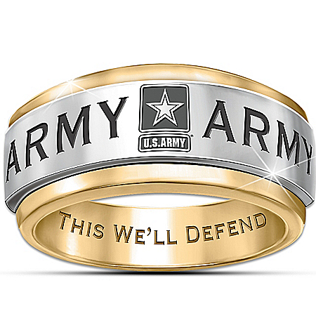 Photo of U.S. Army Stainless Steel Men's Spinning Ring by The Bradford Exchange Online