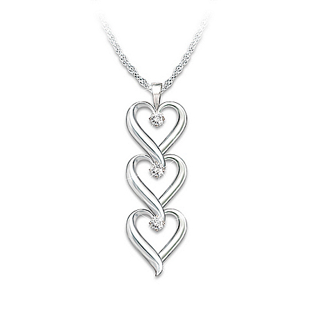 Photo of Women's Necklace: Daughter I Love You Diamond Pendant Necklace by The Bradford Exchange Online