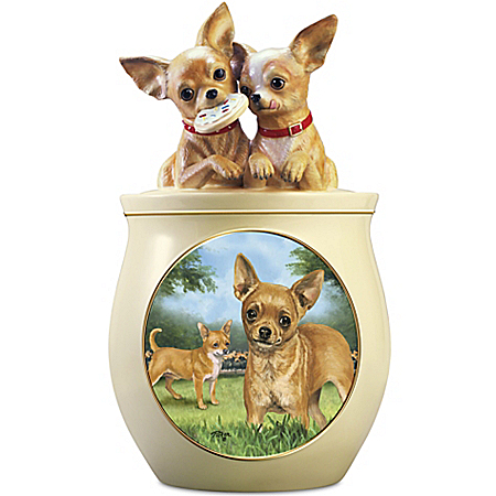 Photo of Cookie Capers: The Chihuahua Cookie Jar Featuring Linda Picken's Dog Art by The Bradford Exchange Online
