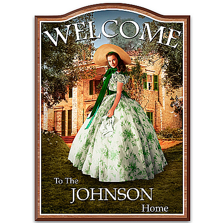 Photo of Welcome Sign: Home To Tara: Gone With The Wind Family Personalized Wooden Welcome Sign by The Bradford Exchange Online